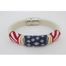"""BBTB4121             """" Fourth of July Flag Leather Bracelet""""        ORIGINAL DESIGN"""