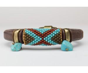 """BBTBMBL114            """"Turquoise Leather Bracelet"""""""