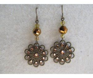 E114          Bronze Crystal Filigree