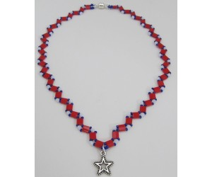 "BBTB4118          ""Patriotic Tila Necklace"""