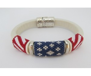"BBTB4121             "" Fourth of July Flag Leather Bracelet""        ORIGINAL DESIGN"